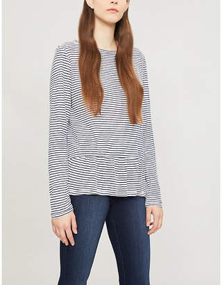 The White Company Frilled-hem striped linen top