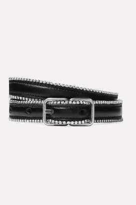 Saint Laurent Crystal-embellished Leather Belt - Black