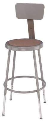 "National Public Seating NPS 18"" Adjustable Height Heavy Duty Steel Stool With Backrest, Grey"