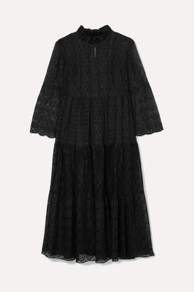 Anna Sui Crocheted Cotton-blend Lace Midi Dress - Black