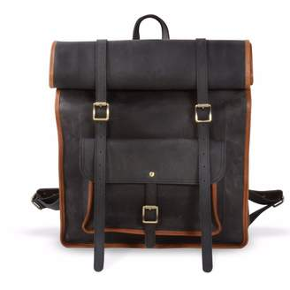 EAZO - Large Roll Top Genuine Leather Backpack In Black