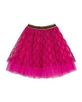 Gucci Girls' Iconic Embroidered Tulle Skirt, Size 4-12