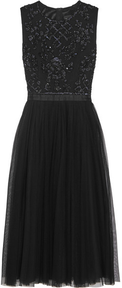 Needle & Thread - Embellished Crepe And Tulle Dress - Black