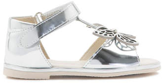 Sophia Webster Flutterby Metallic Leather T-Strap Flat Sandals, Silver, Toddler/Youth Sizes 5T-2Y