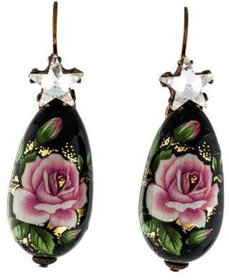 Gas Bijoux Crystal & Enamel Boules Chinoises Drop Earrings