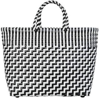 Truss Woven Black And White Tote