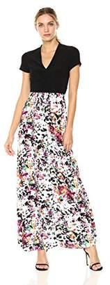 Chetta B Women's Cap Sleeve V-Neck Matte Jersey Bodice with Printed Chiffon Skirt