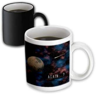 3dRose Again science fiction space design of planet Mars with an incoming traveling craft, Magic Transforming Mug, 11oz