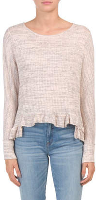Juniors Made In Usa Ribbed Ruffle Bottom Knit Top