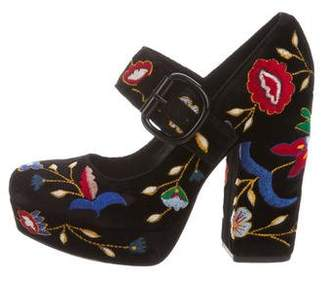 Alice + Olivia Floral-Embroidered Mary Jane Pumps