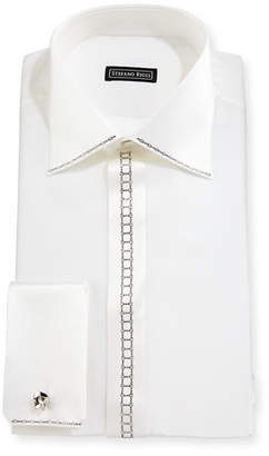 Stefano Ricci Crystal-Placket Silk French-Cuff Tuxedo Shirt $1,230 thestylecure.com