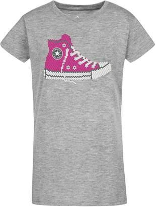 Converse Girls 7-16 Sequin Sneaker Short Sleeve T-Shirt