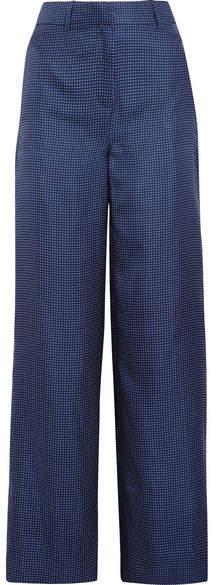 J.Crew - Melancholy Polka-dot Silk Wide-leg Pants - Navy