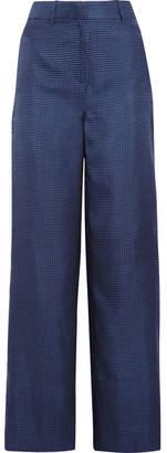 J.Crew Melancholy Polka-dot Silk Wide-leg Pants - Navy