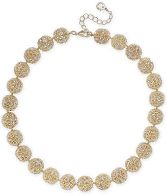 """Charter Club Gold-Tone Crystal Openwork Beaded Collar Necklace, 18"""" + 2"""" extender, Created for Macy's"""