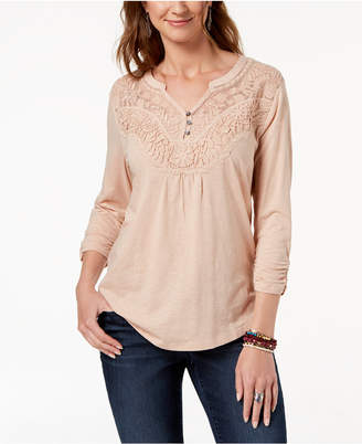 Style&Co. Style & Co Petite Embroidered Split-Neck Top, Created for Macy's