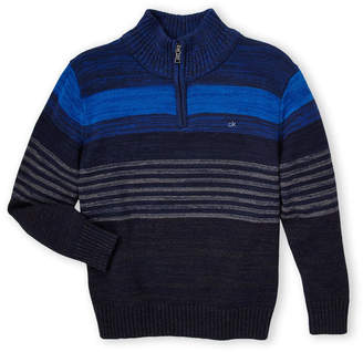 Calvin Klein Boys 8-20) Stripe Zip-Up Long Sleeve Sweater