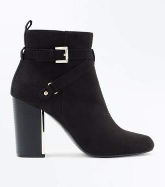 New Look Black Suedette Metal Block Heel Ankle Boots
