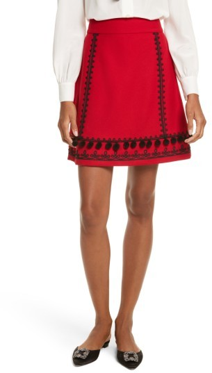 Women's Kate Spade New York Pom Embroidered Skirt