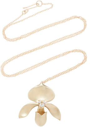 Annette Ferdinandsen Lady Slipper 14K Gold And Keshi Pearl Pendant Necklace