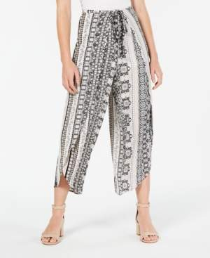 BCX Juniors' Printed Tie-Front Wrap Pants