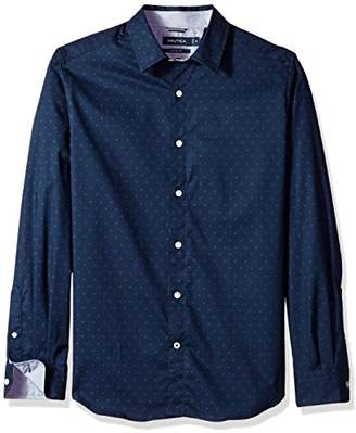 Nautica Men's Ls Wrinkle Resistant Stretch Poplin Print Button Down Shirt Shirt