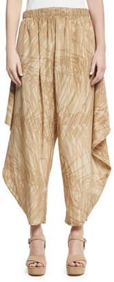 Halston Botanical-Print Flowy Ruched Pants