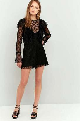 Pins & Needles Pleated Ruffle Neck Lace Playsuit