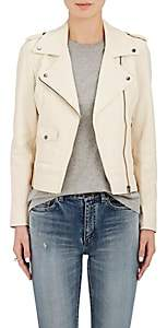 Barneys New York WOMEN'S LEATHER MOTO JACKET-IVORY SIZE S