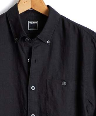 Todd Snyder Slim Fit Linen Button Down Shirt in Black