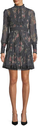 Zimmermann Unbridled Floral High-Neck Lace Short Dress