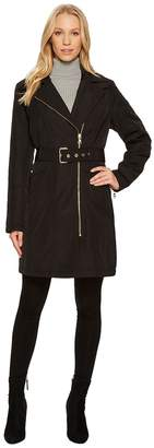 Vince Camuto Belted Asymmetrical Zip Trench N8711 Women's Coat