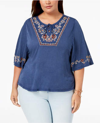 Style&Co. Style & Co Plus Size Lace-Up Embroidered Elbow-Sleeve Peasant Top, Created for Macy's