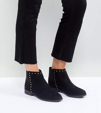 Faith Wide Fit Werlin Studded Flat Ankle Boots