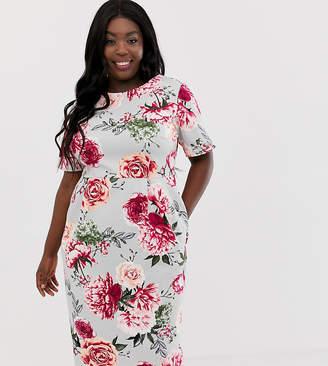 Asos DESIGN Curve wiggle midi dress in floral print