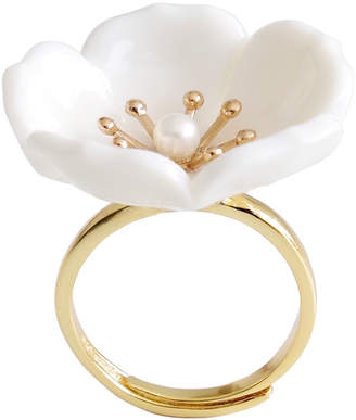 "Porcelain Plum Blossom Ring ""Snow-White"""