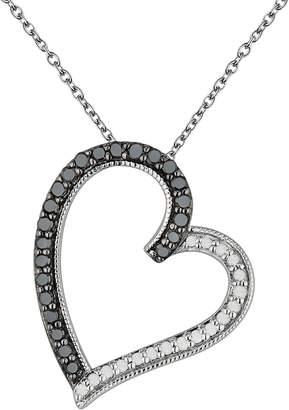Sterling Silver 3/8-ct. T.W. Black & White Diamond Tilted Heart Pendant