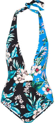 Diane von Furstenberg Floral-print Halterneck Swimsuit - Black
