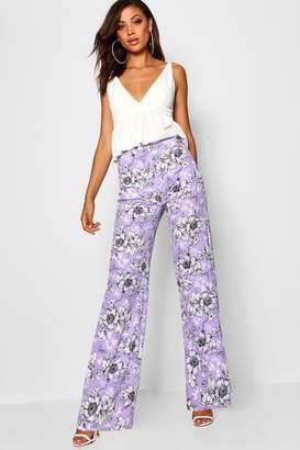 boohoo Tall Floral Print Wide Leg Trousers