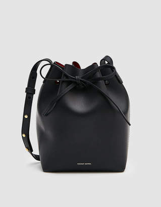 Mansur Gavriel Vegetable Tanned Mini Bucket Bag in Black/Flamma