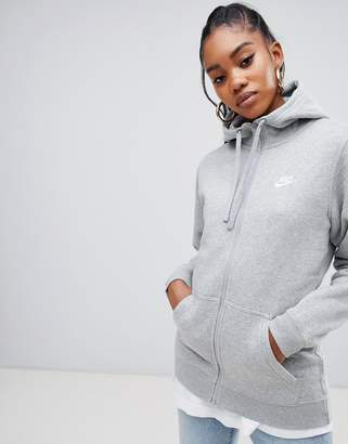 Nike Club Grey Zip Thru Hoody