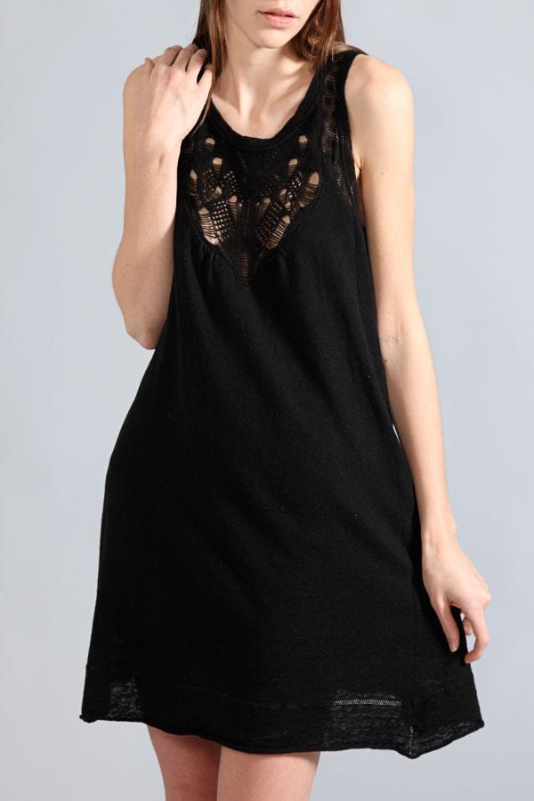 Vanessa Bruno Athé Jersey Linen Sleeveless Dress In Black