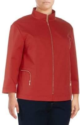 Lafayette 148 New York Plus Neely Zip-Front Jacket