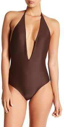 Mikoh Hinano Deep V-Neck Halter One-Piece Swimsuit