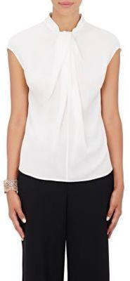 Giorgio Armani Women's Silk Twist-Neck Blouse-WHITE $1,495 thestylecure.com