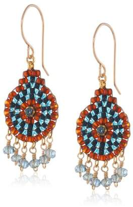 Miguel Ases Gold-Tone and Iolite Hydro-Quartz Dangle Earrings