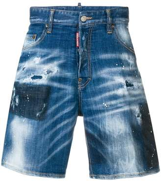 DSQUARED2 paint splatter distressed denim shorts