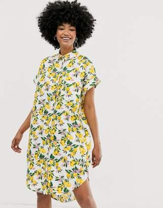 Monki lemon print shirt dress in white
