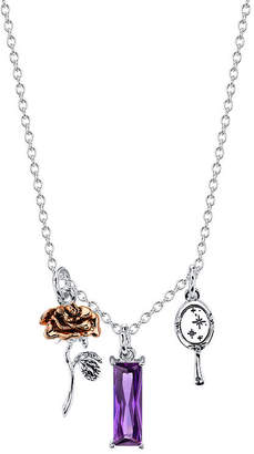 Disney Womens Purple Crystal Pure Silver Over Brass Beauty and the Beast Pendant Necklace