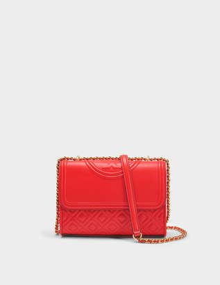 Tory Burch Fleming Small Convertible Shoulder Bag in Exoctic Red Lambskin Leather